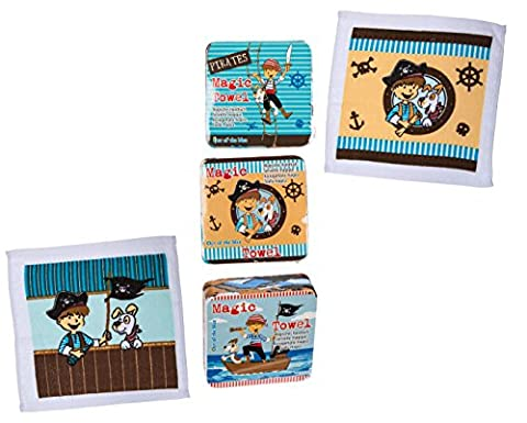 Children Kids Boys Boy Child - Great Idea For Fun Expanding Face Cloth - Pirate Magic Flannel - Perfect for Stocking Fillers Christmas Xmas Birthday Easter Present Gift Fun Toys & Games Age 3+ or Pocket Money Treat or Reward Idea 3 Supplied