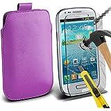 Fone-Case ( Purple ) Samsung galaxy S3 Mini Hülle Abdeckung Cover Case schutzhülle Tasche Brand New Luxury Faux PU-Leder Pull Tab-Beutel-Haut-Kasten-Abdeckung mit gehärtetem Glas Crystal Clear LCD Display-Schutzfolien