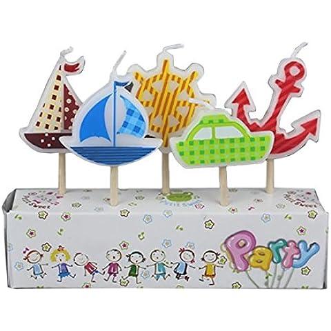 Gosear 5 piezas Parafina Decoración de Vela de Torta Fiesta de Cumpleaños con Palo de Madera Dibujos Animados para Niños (Barco)
