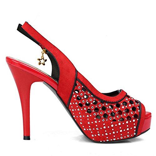 TAOFFEN Femmes Peep Toe Sandales Mode Slingback Aiguille Plateforme Talons Hauts Ete Chaussures Rouge
