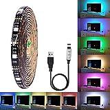 MEIYANG LED Lichtleiste Kit TV Hintergrundbeleuchtung RGB Bunte Wasserdichte 5 V 5050 Soft Light Bar USB Powered Heimkino Beleuchtung Weihnachtsdekoration,5M