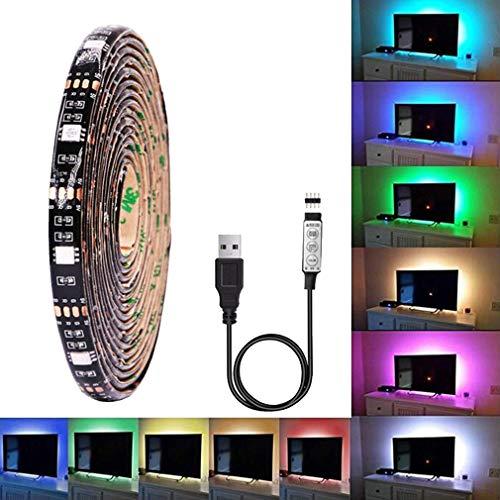 MEIYANG LED Lichtleiste Kit TV Hintergrundbeleuchtung RGB Bunte Wasserdichte 5 V 5050 Soft Light Bar USB Powered Heimkino Beleuchtung Weihnachtsdekoration,5M -