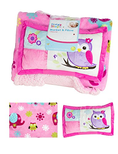 first-steps-soft-sherpa-blanket-pillow-soft-toddler-crib-basket-buggy-age-2-
