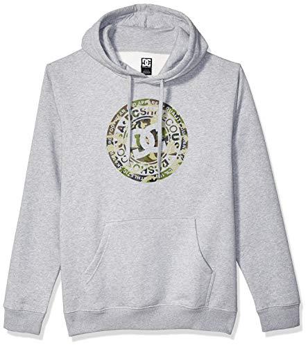 DC Herren Circle Star Pullover Fleece Kapuzenpulli, Grey Heather/Camo, Klein Dc-fleece-pullover