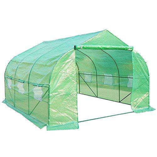 HomCom Invernadero con mosquitera para flores y plantas - 3.5x3x2 m verde