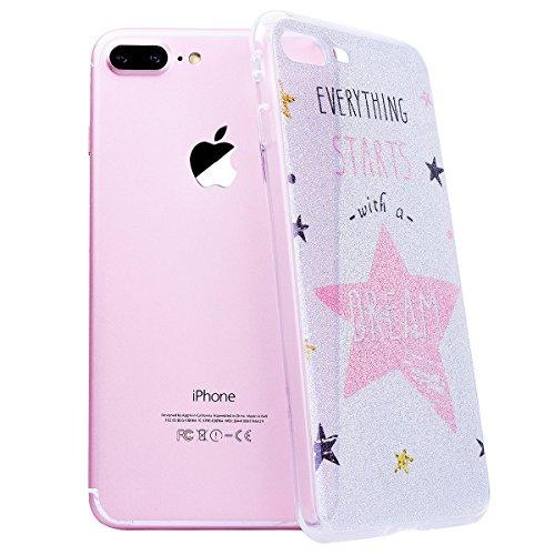 WE LOVE CASE Coque iPhone 7 Plus Souple Gel Coque iPhone 7 Plus Silicone Paillette Glitter Brillant Motif Fine Coque Girly Resistante Coque de Protection Bumper Coque Apple iPhone 7 Plus étoile rose