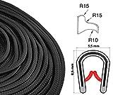 KS0-1S Kantenschutzprofil von SMI-Kantenschutzprofi - PVC Gummi Klemmprofil Kantenschutz - Schwarz - einfache Montage, selbstklemmend ohne Kleber Klemmbereich 0-1 mm (10 m)