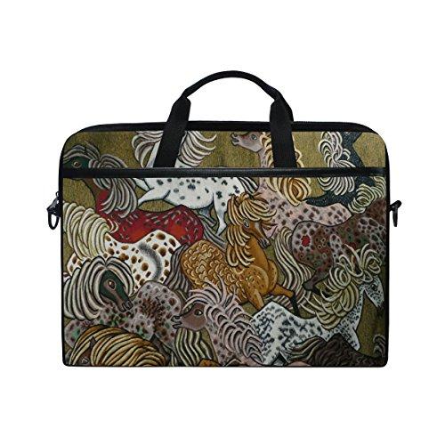 Ahomy 35,6 cm Laptoptasche, Pferd, abstraktes Segeltuch, Laptoptasche, Bussiness Handtasche mit Schultergurt für Damen und Herren