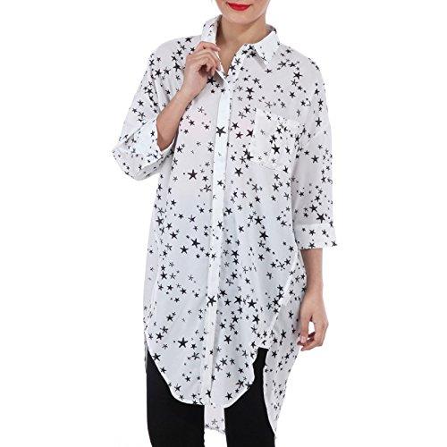 La Modeuse - Tunique imprimé étoile à col chemise Blanc