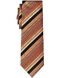 cravate soie rayée multi stripe copper red black