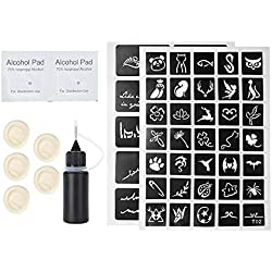 Tattoo Ink Set, Tattoo Tinte+Alkoholtupfer+Finger Sleeve+Tattoo Vorlage, Temporäre Microblading Pigment Set Tätowierfarbe Ink Fruchtsäfte Set für Körper Augenbrauen Semi-Permanent Makeup