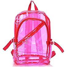 EXOH Sweety – Mujer Chica Con Cremallera Fashion transparente claro mochila bolsa de plástico escuela bolsa