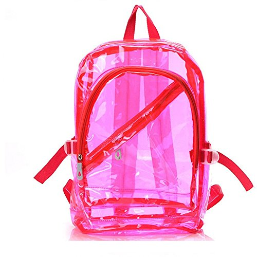 Clear backpack – Jilesm Mode Plastique Transparent Sac à dos Sac d'école (Rose)