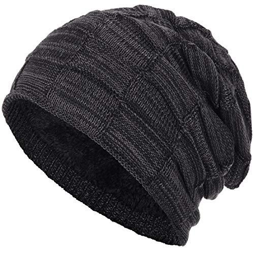 Compagno Gorro de invierno tipo slouch beanie de punto cesta con suave interior de forro polar, Color:Negro brezo