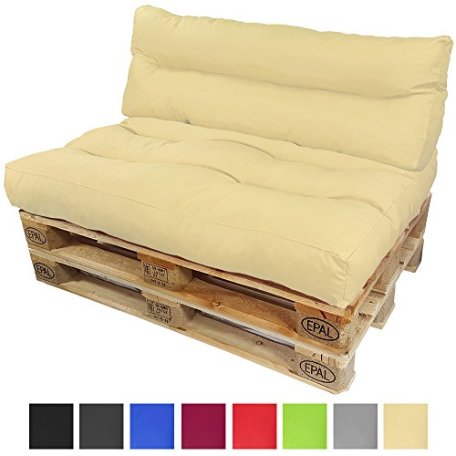 Cojines para europalé Lounge de proheim Set 2 piezas - 1 asiento de cojín + 1 cojín de respaldo largo en color verde para crear elegantes sofás-palés