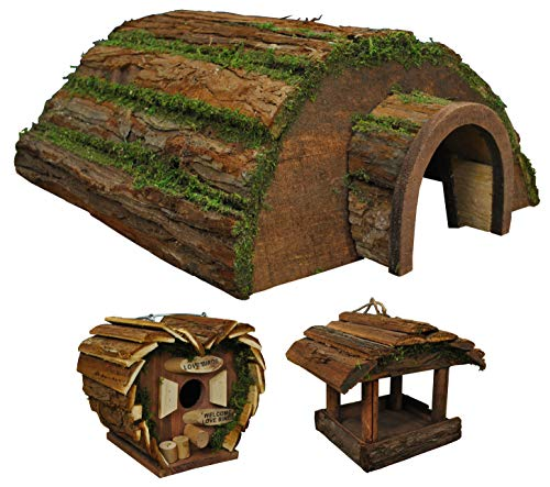 Selections Igel Hogitat aus Holz mit Vogelhaus und Vogelfutterstation zum Aufhängen