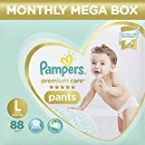 #3: Pampers Premium Care Pants Diapers Monthly Box Pack, Large, 88 Count