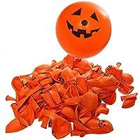 Tinksky Halloween zucca sorriso viso stampa palloncini festa di palloncini per Halloween 100pcs decorazione (giallo)