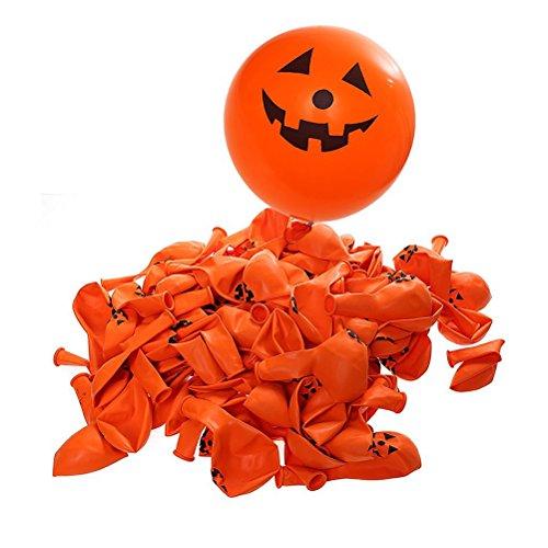 Lurrose 100 stücke Halloween Ballons Party Dekoration Kürbis Bat Schädel Drucken (Kürbis Smiley)