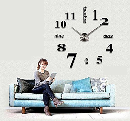 Wa Reloj de Pared 3D con Números Adhesivos DIY Bricolaje Moderno Decoración  Adorno para Hogar Habitación - Negro de Da.Wa f31cb7a9429b