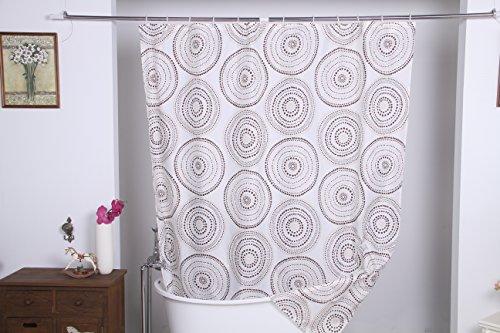 Design Duschvorhang mit Kunststoff Ringen - 100% Polyester Stoff Textil mit Motiven und Mustern, geeignet für Badewanne & Dusche (180 x 200 cm, Kreise)