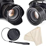 Reversible Tulip Flower Lens Hood for Canon Nikon Sony DSLR + Center Pinch Lens Cap with Cap Keeper Leash + Premium Microfiber Lens Cleaning Cloth Set 55mm