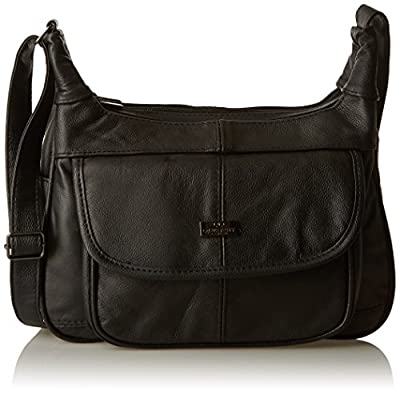 Quenchy London Leather Ladies Handbag - Black Cow Hide Leather Shoulder Bag - Single Strap Cross Body Handbags - Multiple Pockets - Medium Size - Single Adjustable Strap Lorenz QL747