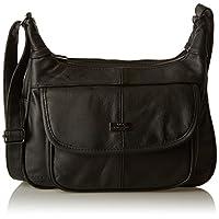 Quenchy London Leather Ladies Handbag - Black Cow Hide Leather Shoulder Bag - Single Strap Cross Body Handbags - Multiple Pockets - Medium Size - Single Adjustable Strap Lorenz QL747