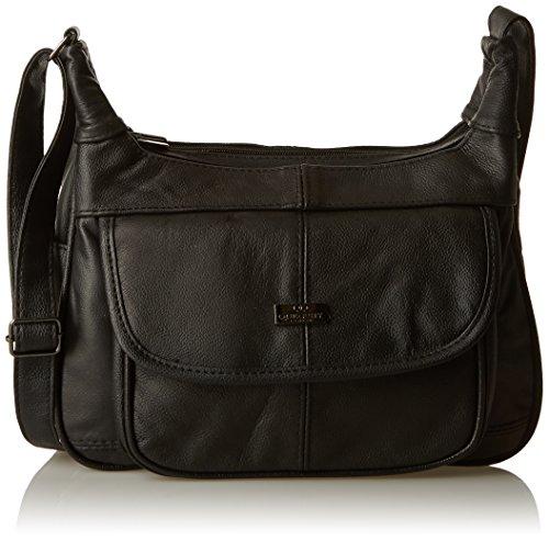 Quenchy london borsa da donna in pelle a tracolla - borsa da giorno in pelle di vacchetta nera, per lavoro e tempo libero - multi tasche - misura media - tracolla regolabile. ottima idea regalo ql747