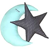 Oscar Home Shaped Pillow Moon & Star Shape Pillow Soft Toy Perfect Birthday Gift For Kids / Children - Moon & Star Combo Plush Pillow Toy - Stuffed Pillow Material: Soft Cotton, Poly-fiber Filling Cushion-Sky Blue,Black