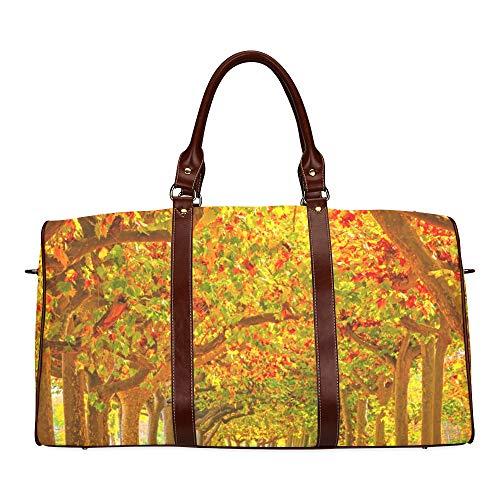 Reise-Seesack Weg durch den Herbstwald wasserdichte Weekender-Tasche Reisetasche Frauen Damen-Einkaufstasche Mit Mikrofaser-Leder-Gepäcktasche -