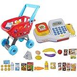 deAO Caisse Calculatrice Électronique pour Enfants Ensemble de Panier et Accessoires Supermarché Set 2 en 1 Comprend des Aliments et Argent Artificiel