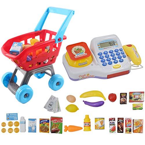 deAO Caja Registradora Calculadora Electrónica Infantil Conjunto Carr