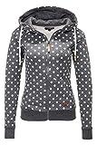 Hachiro Damen Sweatjacke Hoodie Sweatshirt Kapuzenpullover (XX-Large, Grey Marl/Dots)