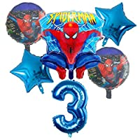 ZINNI-Ballons & Accessories - 6pcs Spider Hero man Foil Helium Balloons 30 Inch Number Boy Party Inflatable Birthday Party Decoration Kids Toys Air Globos (Deep Blue)