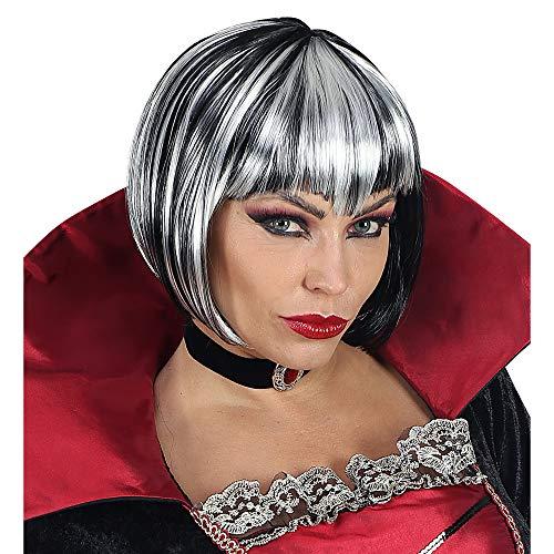 WIDMANN 46923 Perücke Halloween für Erwachsene, Damen, Schwarz/Weiß