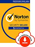 Norton Security Deluxe Antivirus Software 2019 | 5 Dispositivi (Licenza di 1 anno) | Compatibile con...