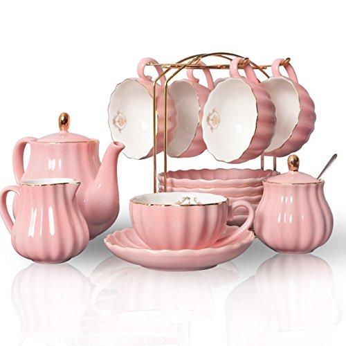 Juego de té de porcelana con tazas y platillos de café y té de cerámica Sweejar Home, con azucarera, tetera y lechera, diseño de familia real rosa