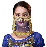 PICCOLI MONELLI Velo Viso Danza del Ventre Accessorio Carnevale per odalisca Ragazza Donna Bambina Colore Blu e Oro