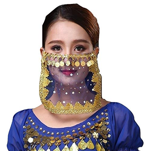 Kostüm Halloween Ballett Tänzer - PICCOLI Velo Gesicht Tanz Ventre Zubehör Karneval Fasching für Mädchen Mädchen Mädchen Farbe Blau Gold