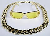 Panelize® Proll Lude Macho Proleth Angeber Hip Hop Rapper Bonzen Set - Brille + Kette gold