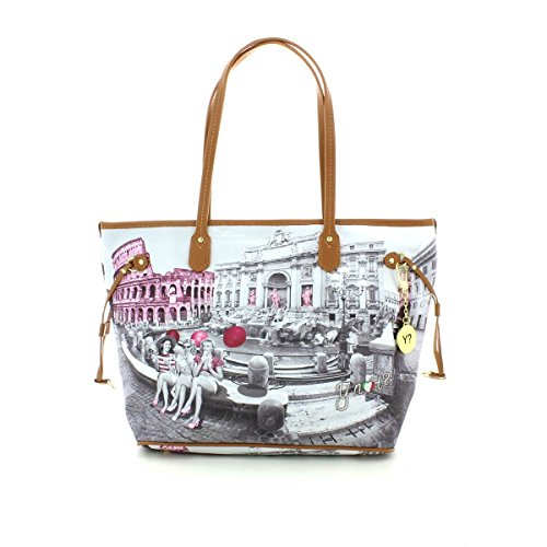 Borsa donna Shopping grande Y Not stampa Roma Pink Girls - Serie Yes Bags - (Serie 319)