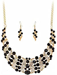 Shining Diva Fashion Black Crystal Party Wear Stylish Necklace Set For Women Jewellery Set With Earrings For Women...