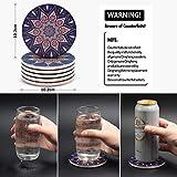 DINGHENG Untersetzer Saugfähige Keramik Untersetzer mit Korkrücken Mandala Stil für Tassen Tisch Bar Glas 6er Set - 5