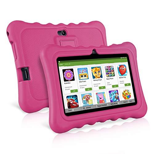 Ainol Q88 Tablet per Bambini da 7 Pollici, Android 7.1 RK3126C Quad Core 1GB+8GB Tablet Educativo, con Custodia in Silicone Stander, WiFi Doppia Fotocamera, Roso