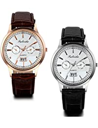 JewelryWe Lot of 2 Fashion Mens Wrist Watches with Black Brown Leather Band Date Wristwatches