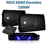 PACK SONO Enceintes 1200W BMS-12 Ampli AMP-300 + Table de mixage DJM200USB/SD + Câbles
