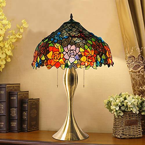LYEJFF Große tischlampe, Tiffany Stil Klassische Elegante Kunst Glas nachttischlampe, e27 antike zinklegierung Basis nachttisch schreibtischlampe für Wohnzimmer, schlafzimmer-A-50CM - Klassische Tiffany-tischlampe