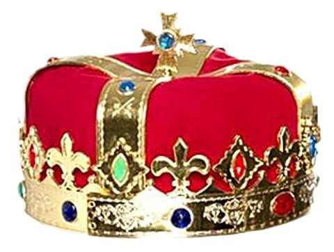 Party Palast - Herren Weihnachts Kopfbedeckung - hochwertige samtartige Krone, One size, Rot Gold (Krone Für Weihnachten Szenen)