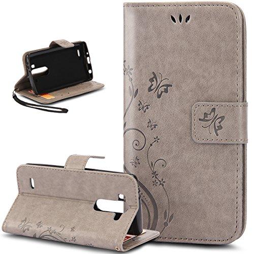 LG G3 Hülle,LG G3 Leder Wallet Tasche Brieftasche Schutzhülle,ikasus® Prägung Schmetterling Blumen Muster PU Lederhülle Flip Hülle im Bookstyle Cover Schale Stand Ständer Etui Karten Slot Schutzhülle Grau Tasche Wallet Case für LG G3(nicht für normales LG G3 s) - Grau (Lg G3 Case Für Mädchen)